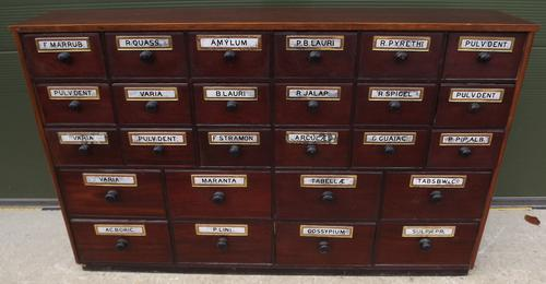Victorian Mahogany Apothecary Cabinet Drawers with Glass Plaques (1 of 1)
