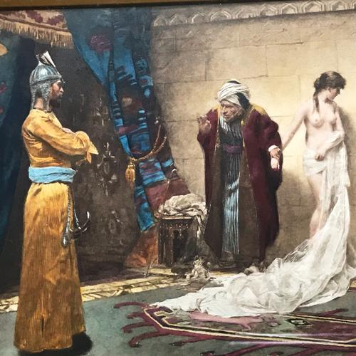 Victorian Hand-Coloured Lithograph Titled the Slave Sale After Oil Painting by Frederick Vezin (1859-1942) (1 of 5)