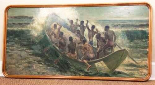 South Pacific Native Islanders Oil On Panel by Charles Cameron Baillie From Smokers Room RMS Queen Mary Liner (1 of 15)