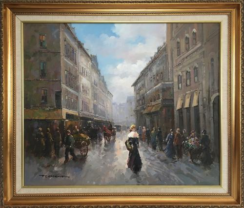 Paris Street Scene by T E Penck Impressionist Oil Painting on Canvas (1 of 7)