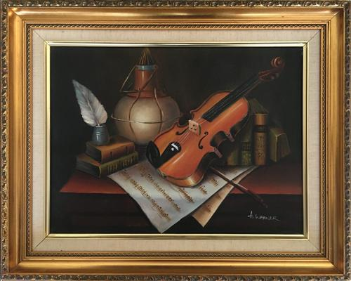 Violin Oil Painting Contemporary Still Life Study on Canvas (1 of 6)