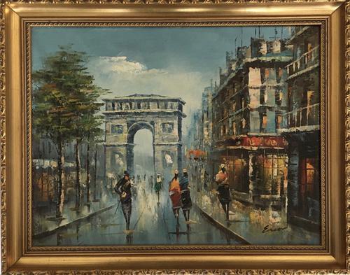 Impressionist Parisian Oil Painting Arc De Triomphe (1 of 6)