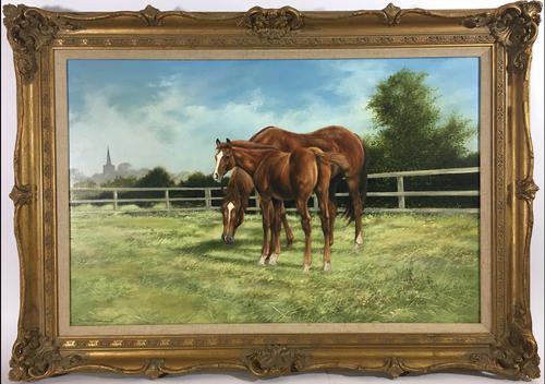 Large Vintage Equestrian Landscape Oil Painting of Horses Swept Gilt Frame (1 of 6)