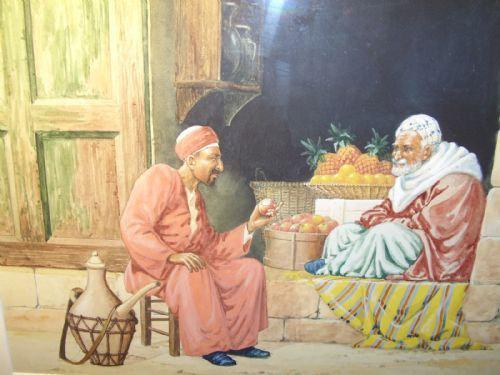 Quality Watercolour Painting by Victor Prescott of 'Egyptian Street Seller Bartering Over His Fruit' C.1920 (1 of 5)