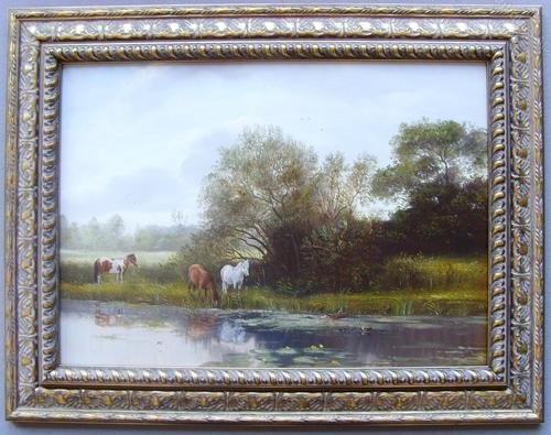 English School River Landscape Oil Painting of Wild Ponies Watering (1 of 1)