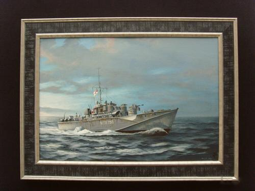1944 Fairmile D Class Mtb Vessel Acrylic Oil Painting On Board (1 of 1)