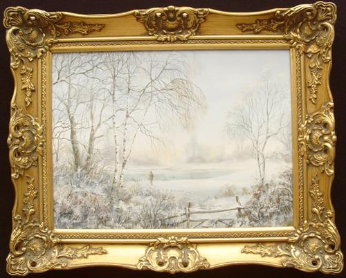 Christmas Snowy Winter Landscape Oil Painting (1 of 1)