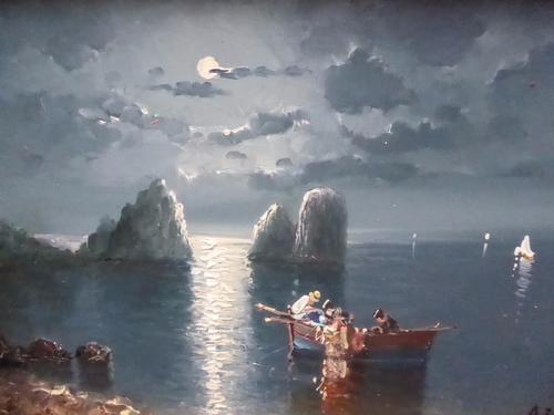 Moonlit Seascape Oil Painting on Board by Accomplished Artist (1 of 1)