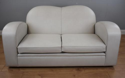Art Deco Frost Grey Leather Sofa (1 of 7)