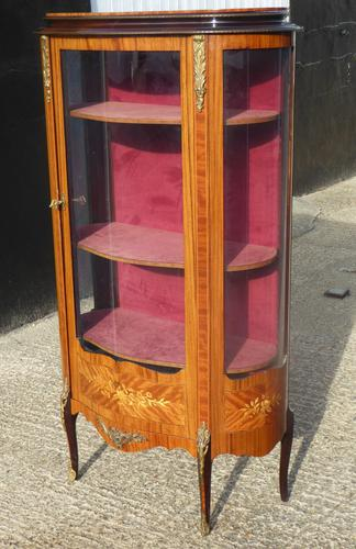 French Style Attributed to Epstein Walnut Serpentine Fronted Glass Cabinet c.1930 (1 of 1)
