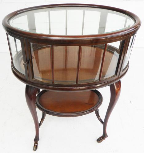 Edwardian Mahogany Oval Display Cabinet (1 of 1)