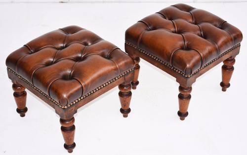 Pair of Victorian Hand Dyed Deep Buttoned Antique Brown Leather Footstools (1 of 1)