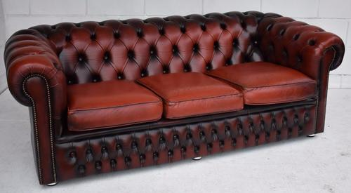 Ox Blood Three Seater Leather Chesterfield (1 of 1)