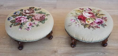 Pair of Victorian Tapestry Upholstered Foot Stools (1 of 1)