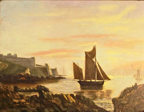 Victorian Marine Painting. Fishing Lugger, Mouth of the Tamar, Devon (1 of 7)
