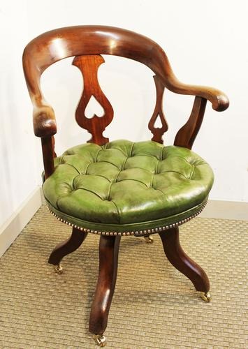 Victorian Mahogany and Leather Swivelling Desk Chair (1 of 7)