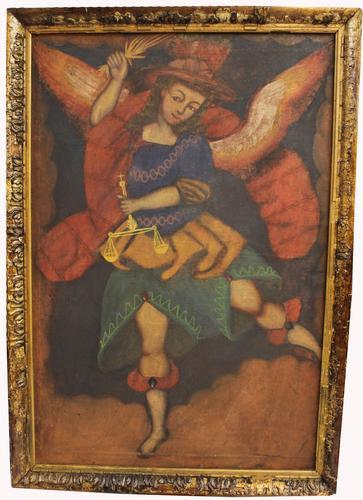 Antique Peruvian Inca Painting - Cusco School - Cuzqueña, 18th Century (1 of 9)