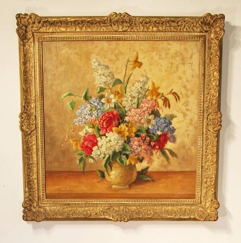 Reserved. Still Life Painting - Spring Flowers Oil On Canvas by Hans Powlitschek (1 of 1)