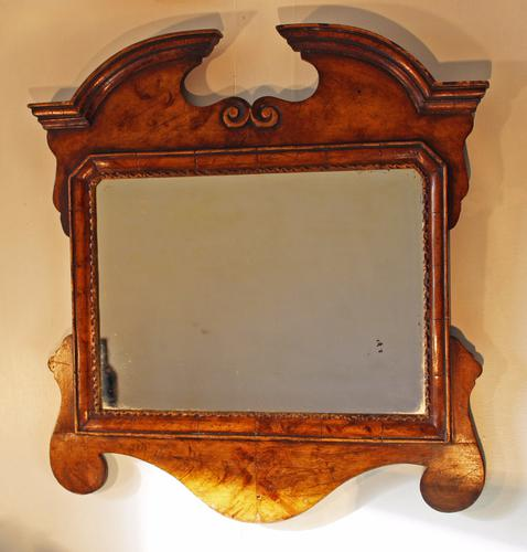 Small Antique Fret Work Mirror with Broken Curved Arched Pediment - Simulated Burr Walnut (1 of 1)