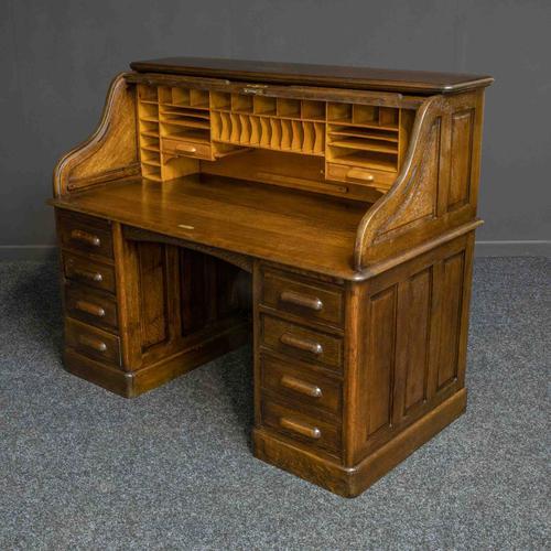 Edwardian Oak Roll Top Desk (1 of 11)
