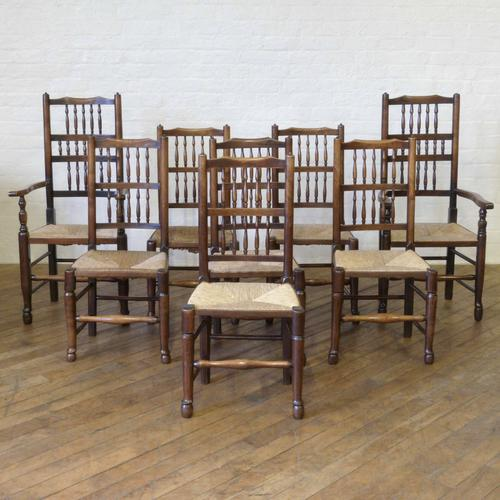 Set of 8 Lancashire Spindleback Chairs c.1800 (1 of 1)
