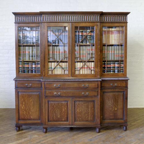 Edwardian Oak Breakfront Bookcase (1 of 1)