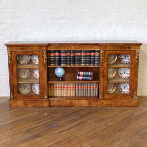 Victorian Burr Walnut Long Bookcase (1 of 1)
