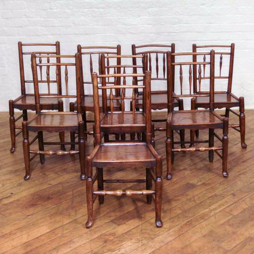 Set of Eight 18th Century Ash & Elm Country Chairs (1 of 1)