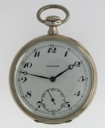 Excellent Silver 0.800 MOVADO Pocket Watch 1925 (1 of 1)