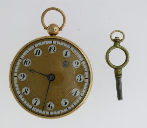 Superb Serviced 18 Kt Gold 'Telephone Dial' Verge Pocket Watch Swiss 1825 (1 of 1)