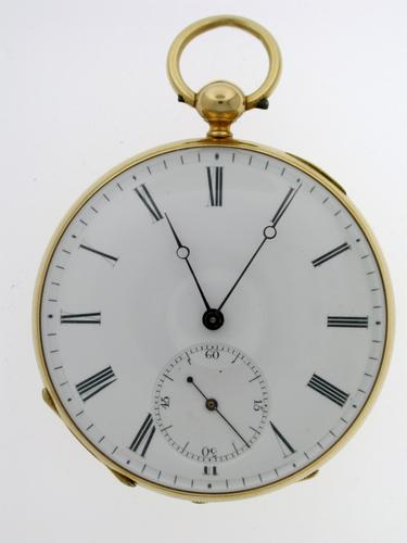 Superb 18 Kt Yellow Gold Open Face Pocket Watch Swiss 1880 (1 of 1)