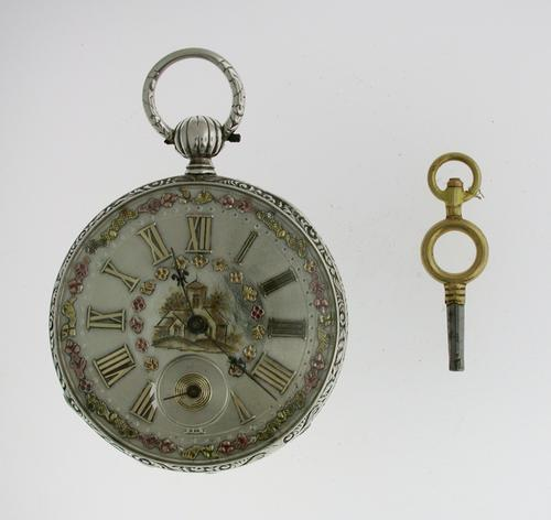Silver Skeleton Open Face Pocket Watch  With Silver Movement Swiss 1850 (1 of 1)