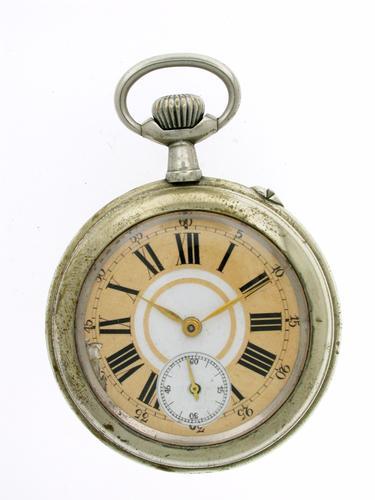 Steel Open Face URANIA Pocket Watch Swiss 1930 (1 of 1)