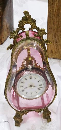 Rare Antique Pink Glass Pocket Watch Holder with Silver 0.935 Pretty Dial Pocket Watch Swiss Made – 1870 (1 of 1)