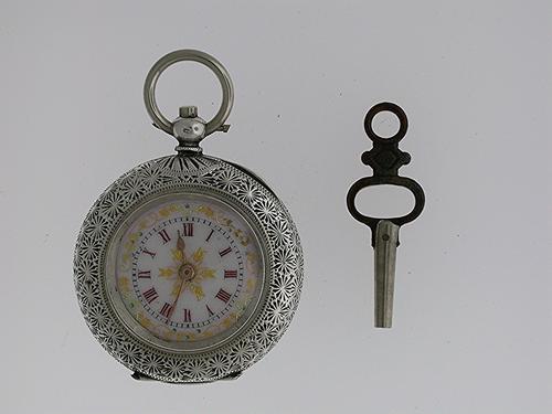 Silver 0.935 Pretty Dial Pocket Watch Swiss 1880 (1 of 1)