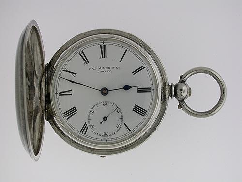 Silver 0.935 Full Hunter Keywind Max Minck & Co, Durban Pocket Watch Swiss 1900 (1 of 1)