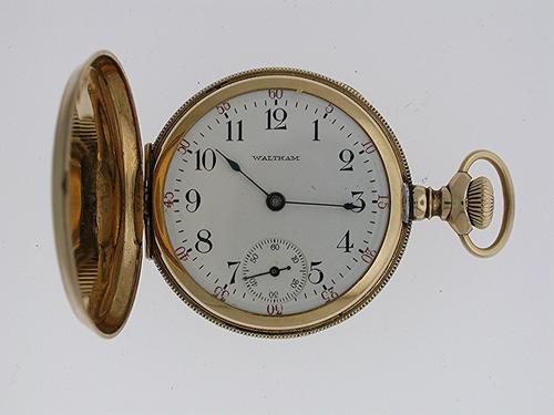 Waltham 14 Kt Gold Full Hunter Fob Pocket Watch USA 1920 (1 of 1)