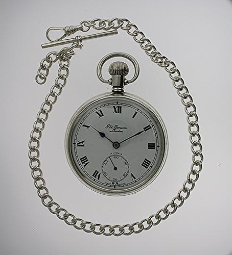 Silver J.W. Benson Open Face Pocket Watch with Silver Chain Hallmarked Birmingham 1954 (1 of 1)
