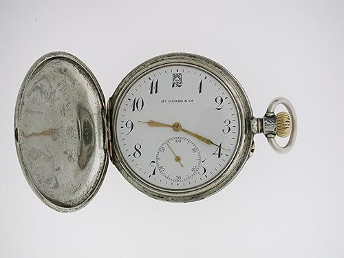Silver Moser Full Hunter Niello Case Pocket Watch, Swiss 1900 (1 of 1)