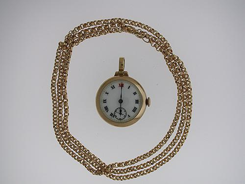 Pendant 9Kt Yellow Gold Stauffer Open Face Watch  with Gf Chain 1960 (1 of 1)
