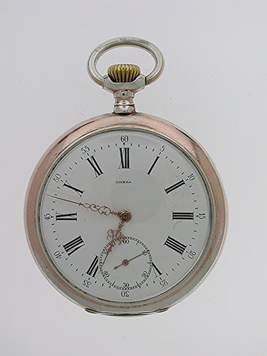 Silver 0.800 Omega Open Face Pocket Watch Swiss 1900 (1 of 1)