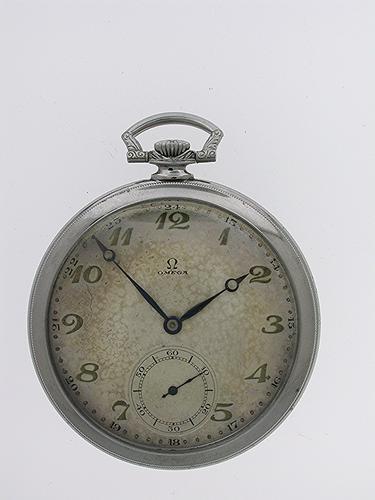 Original Omega Steel Open Face Gent's  Pocket Watch Swiss 1930 (1 of 1)