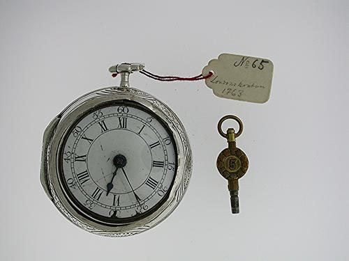Silver Verge W. Wood English / London Pair Case Pocket Watch 1765 (1 of 1)