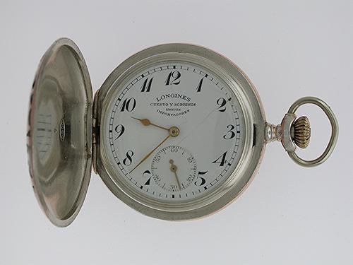 Silver 0.900 & Niello Gold Longines Full Hunter Pocket Watch Spanish Market – Swiss 1900 (1 of 1)