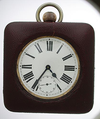 8 Day Large Goliath Open Face Steel Pocket Watch  Swiss 1900 (1 of 1)