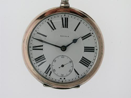 Rare Silver 0.800 Havila Railway Open Face Pocket Watch Swiss 1900 (1 of 1)