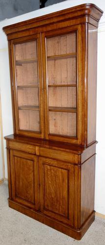 Victorian Figured Mahogany Glazed Bookcase c.1870 (1 of 1)
