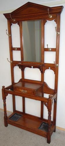 Edwardian Mirror-Back Oak Hall Stand / Hat Stand / Coat Stand (1 of 1)