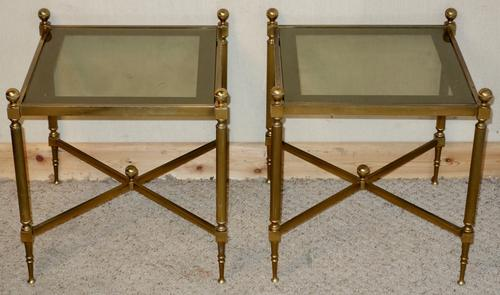 Pair of French Brass Glass Low Occasional Tables (1 of 1)