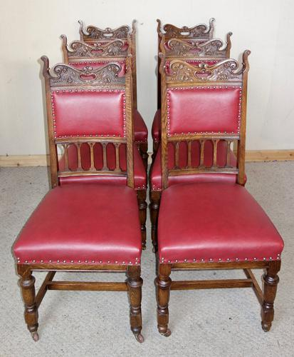 Set of 6 Edwardian Oak Leather Dining Chairs c.1910 (1 of 1)